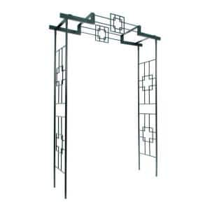 Elegant Handcrafted Square-on-Squares Garden Arbor II, 95.5 in. Tall Graphite Powder Coated Finish
