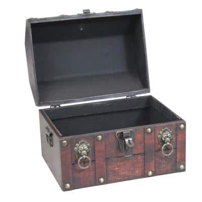Antique Cherry Wooden Pirate Chest with Lion Rings and Lockable Latch Storage Trunk
