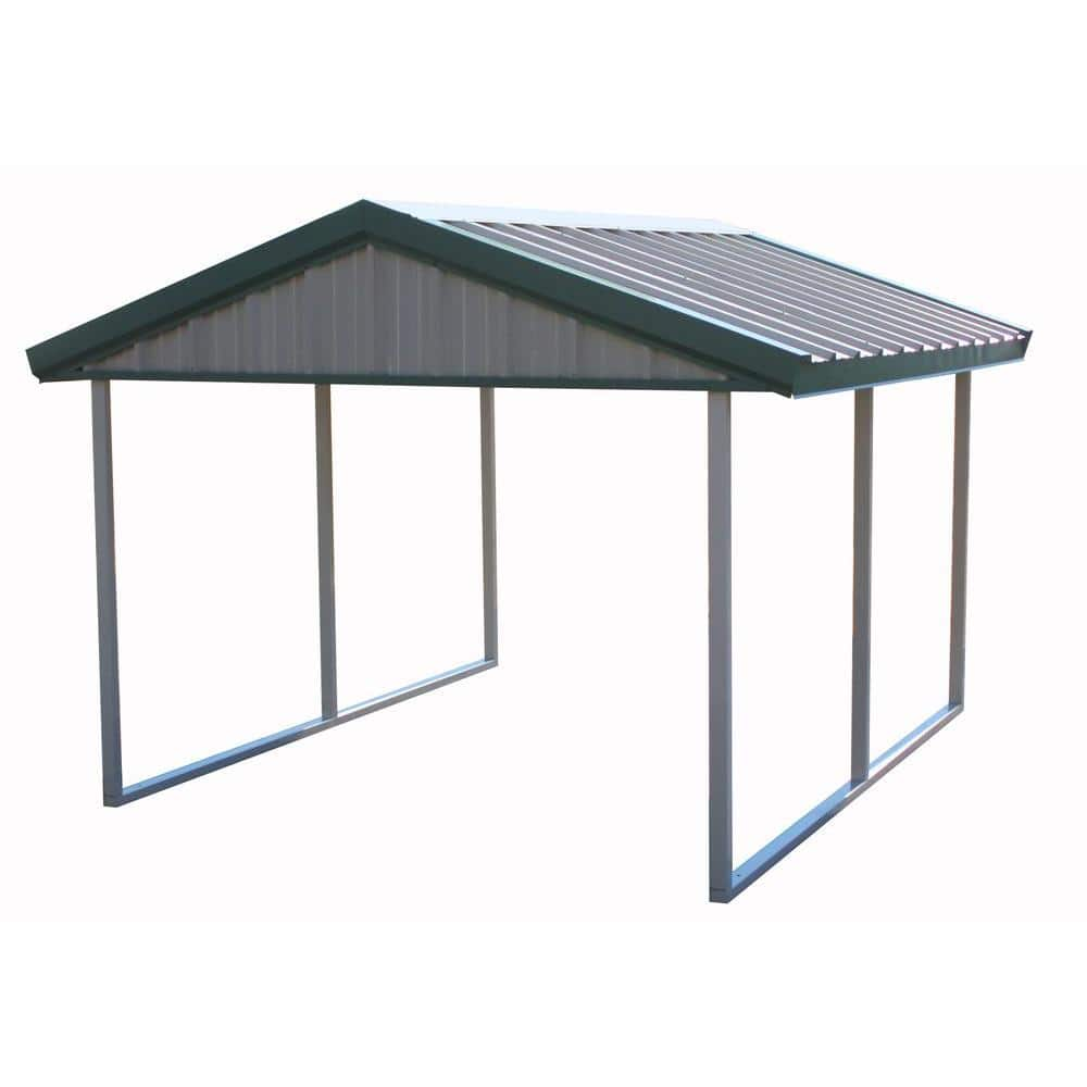 Reviews For Pws Premium Canopy 10 Ft X 12 Ft Light Stone And Patina Green All Steel Carport Structure With Durable Galvanized Frame S 1012 Pg The Home Depot