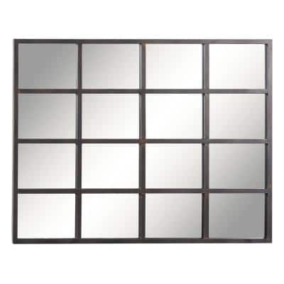 45 in. x 35 in. Rectangle Brown Framed Glass Industrial Wall Mirror