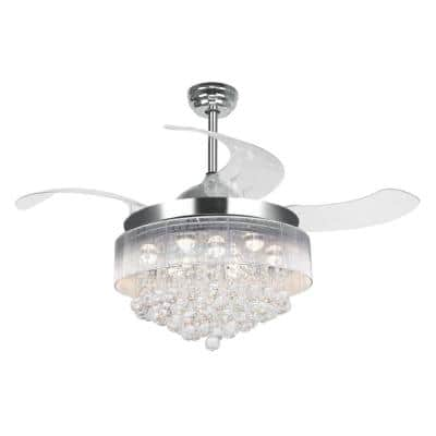 Broxburne 46 in. LED Indoor Chrome Downrod Mount Retractable Ceiling Fan with Light Kit Remote Control Warm 3000K