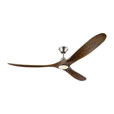 Maverick Max LED 70 in. Integrated LED Indoor/Outdoor Brushed Steel Ceiling Fan with Dark Walnut Blades with Remote