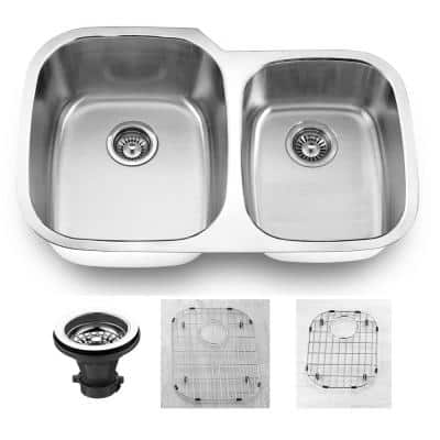 Oceanus Undermount 16-Gauge Stainless Steel 31.88 in. 55/45 Double Bowl Kitchen Sink with Grid and strainer