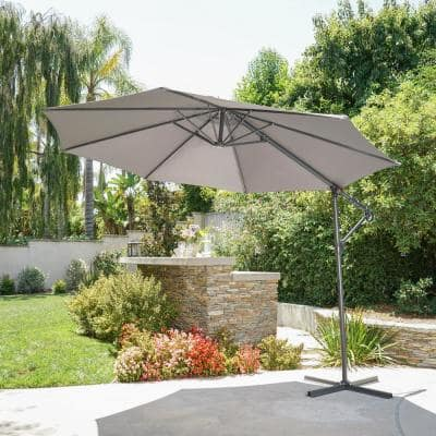 11.5 ft. Steel Cantilever Tilt Patio Umbrella in Gray