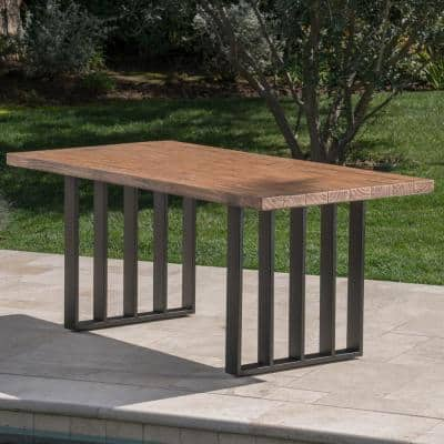 Kantor Natural Oak Rectangular Light-Weight Concrete Outdoor Dining Table
