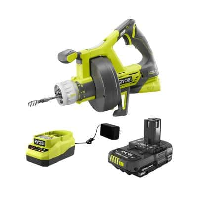 ONE+ 18V Hybrid Drain Auger and 2.0 Ah Compact Battery and Charger Starter Kit
