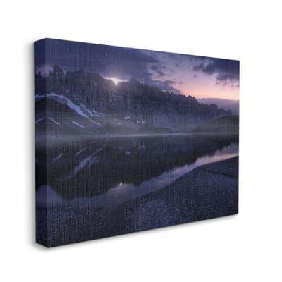 """36 in. x 48 in. """"Twilight Mountains And Lake Purple Epic Photograph"""" by Enrico Fossati Canvas Wall Art"""