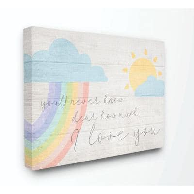 """36 in. x 48 in. """"How Much I Love You Rainbow Clouds and Sun on Planks"""" by Daphne Polselli Canvas Wall Art"""