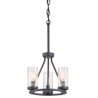 Hartwell 3-Light Graphite Mini-Pendant with Antique Nickel Accents and Clear Seeded Glass