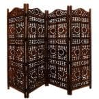 71 in. Brown Sun And Moon Design Foldable 4-Panel Wooden Room Divider