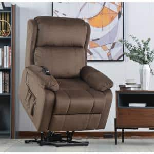 33 in. Width Big and Tall Brown Fabric Remote Control Power Lift Recliner