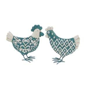 Rooster Polystone Sculpture in Matte Teal (Set of 2)