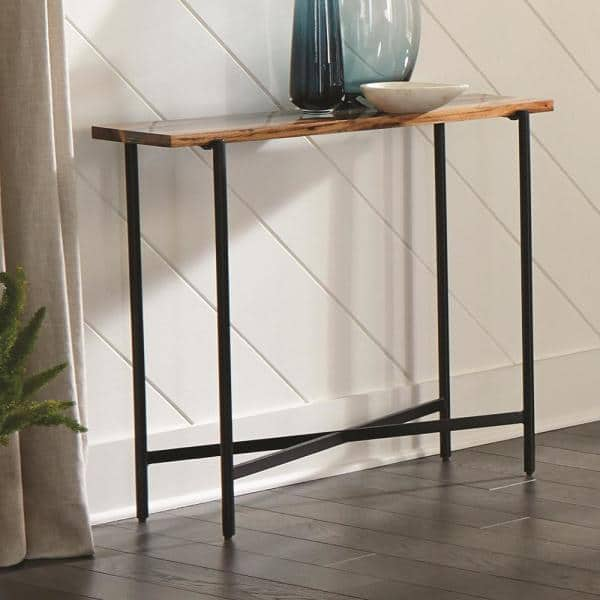 Alaterre Furniture Rivers Edge 36 Acacia Wood And Acrylic Narrow Console Entryway Table Awre1420 The Home Depot