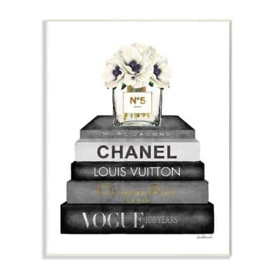 """""""Fashion Designer Flower Bookstack Black And White Watercolor""""by Amanda Greenwood Wood Wall Art 15 in. x 10 in."""