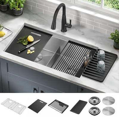Rivet Stainless Steel 16 Gauge 33 in. Double Bowl Undermount Workstation Kitchen Sink