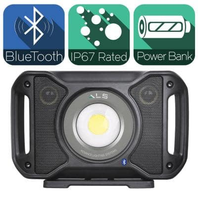 5,000 Lumens LED Rechargeable Bluetooth Audio Work Light with Integrated Power Bank