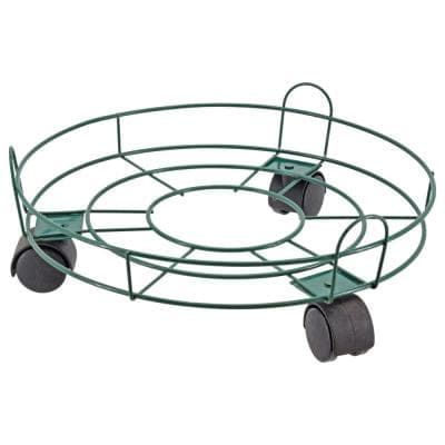 13 in. Green Metal Basic Plant Caddy