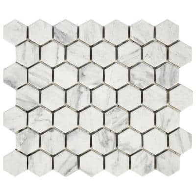 LuxeCraft Carrara 4 in. x 4 in. Glazed Ceramic Mosaic Sample Tile