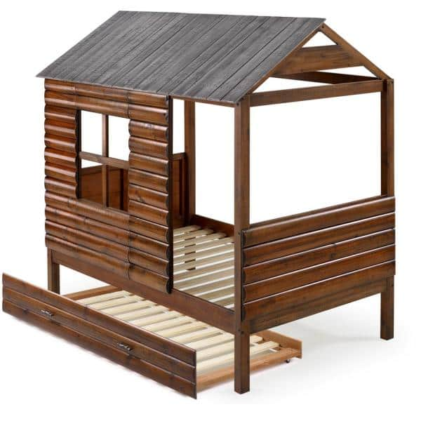 Donco Kids Log Cabin Rustic Walnut and Silver Twin Low Loft Bed with Twin Trundle Bed | The Home Depot
