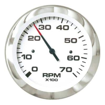 3 in. Elec. Outboard and 4 Stroke Gas Engine 0-7,000 RPM Dial Range Tachom Gauge W/Outb Alternator or Coil Sender Code