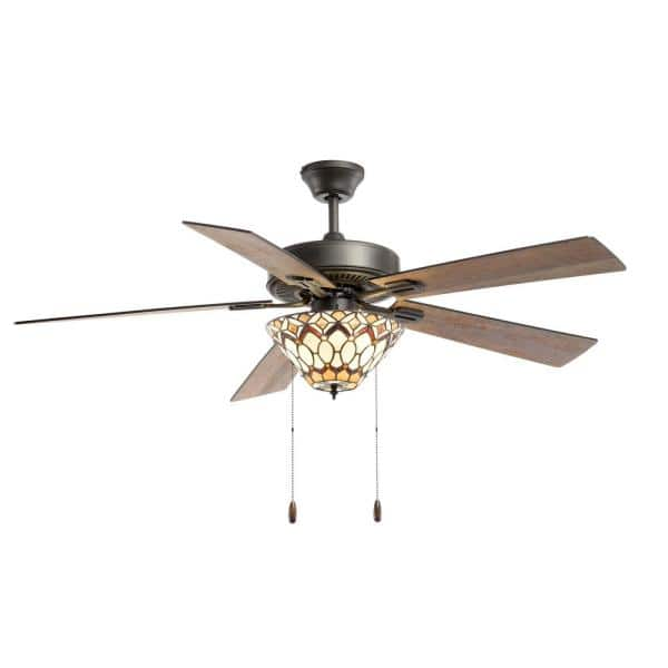 River Of Goods Bram Tiffany Style 52 In Indoor Oil Rubbed Bronze And Stained Glass Ceiling Fan With Light 20184 The Home Depot