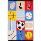 Fun Time Ball Games Multi 3 ft. x 5 ft. Area Rug