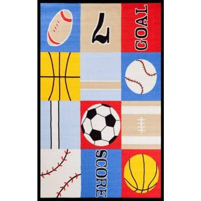 Fun Time Ball Games Multi 4 ft. x 6 ft. Area Rug