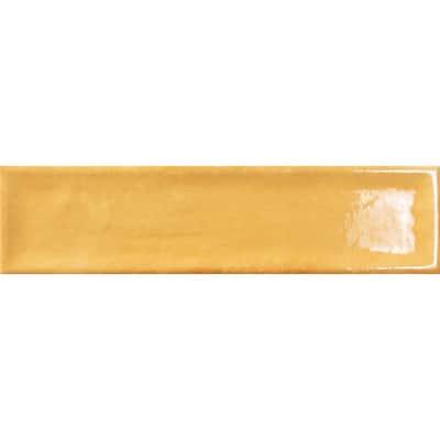 Raku Mustard 2.95 in. x 11.81 in. Glossy Brick Look Ceramic Wall Tile (6.05 sq. ft./Case)