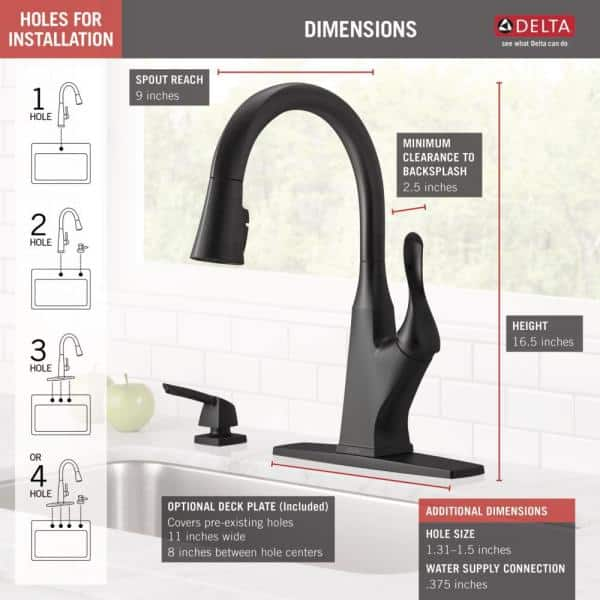 Delta Everly Single Handle Pull Down Sprayer Kitchen Faucet With Shieldspray Technology And Soap Dispenser In Matte Black 19741z Blsd Dst The Home Depot