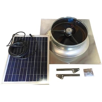 1280 CFM Aluminum Hybrid (Solar/Electric) Powered Gable Mount Gable Louver Vent