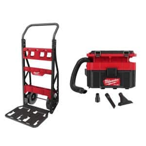 PACKOUT 20 in. 2-Wheel Utility Cart & M18 FUEL PACKOUT 18-Volt Lithium-Ion Cordless 2.5 Gal. Wet/Dry Vacuum (Tool-Only)