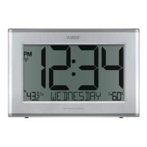 Extra-Large Slim Atomic Digital Silver Clock with Outdoor Temperature and Humidity