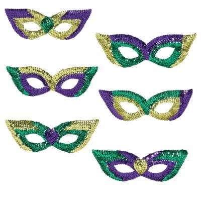 Green, Purple and Gold Sequin Mardi Gras Masks (6-Count, 2-Pack)