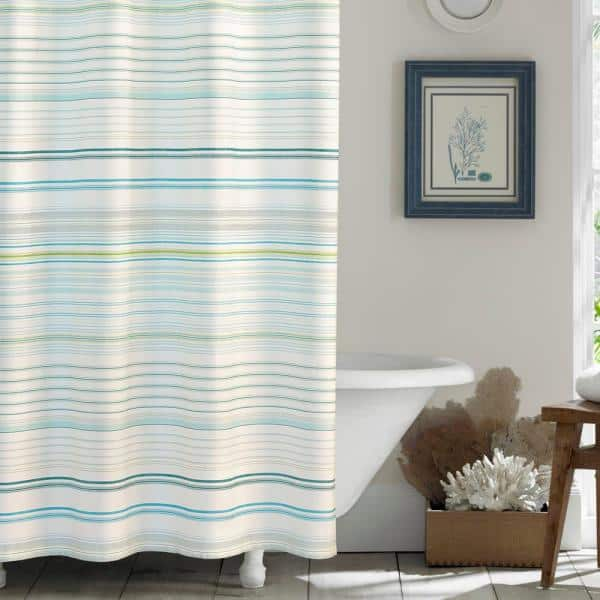 Tommy Bahama La Scala Breezer Green, Green And White Shower Curtain
