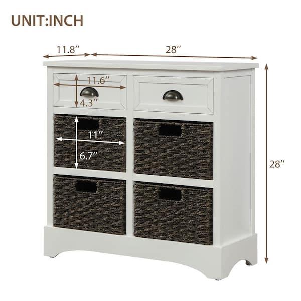 Harper Bright Designs White Rustic, White Storage Furniture With Baskets