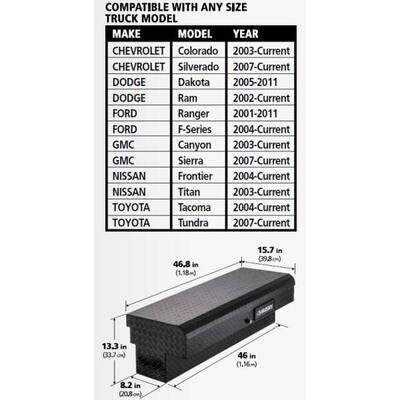 46.8 in. x 15.7 in. x 13.3 in. Matte Black Aluminum Low Side Truck Box