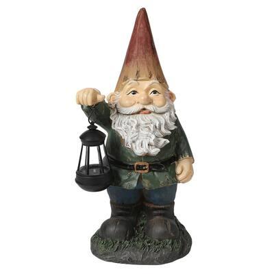 Gnome with Solar Lantern Garden Statue