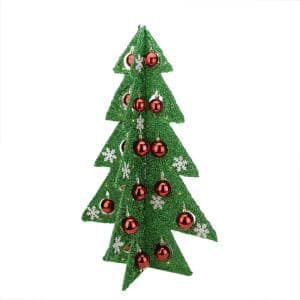 28 in. Battery Operated Decorated Green Tinsel LED Lighted Christmas Tree Table Top Decoration