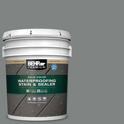 5 gal. #6795 Slate Gray Solid Color Waterproofing Exterior Wood Stain and Sealer
