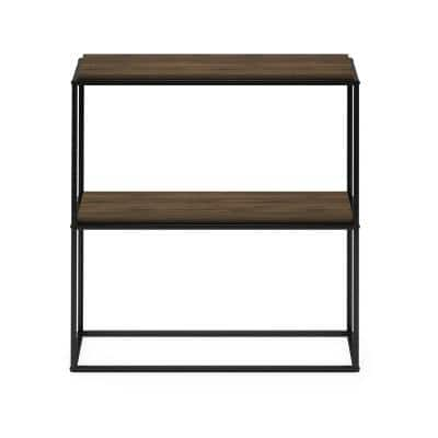 Moretti 34.3 in. Columbia Walnut Modern Lifestyle Wide 2-Shelf Stackable Etagere Bookcase