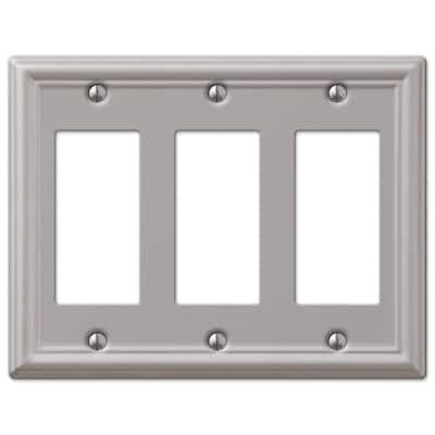 Ascher 3 Gang Rocker Steel Wall Plate - Brushed Nickel