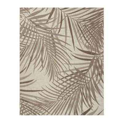 Paseo Paume Sand/Havana 6 ft. x 9 ft. Floral Indoor/Outdoor Area Rug