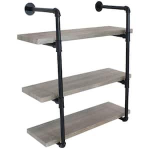 34.50 in. Oak Gray Industrial Style 3-Tier Wall Bookshelf - Black Pipe Frame