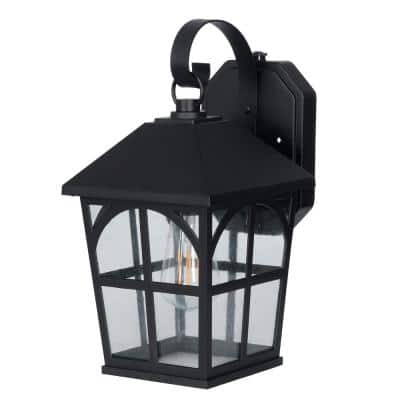 1-Light Black Integrated LED Outdoor Square Wall Lantern Sconce with Dusk to Dawn Sensor