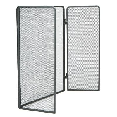 3-Panel Fire Place Screen Door Panel with Double Bar Black Finish, Black