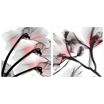 """""""Coral Luster 1 and 2"""" Unframed Free Floating Tempered Glass Panel Diptych Wall Art Print 24 in. x 24 in."""