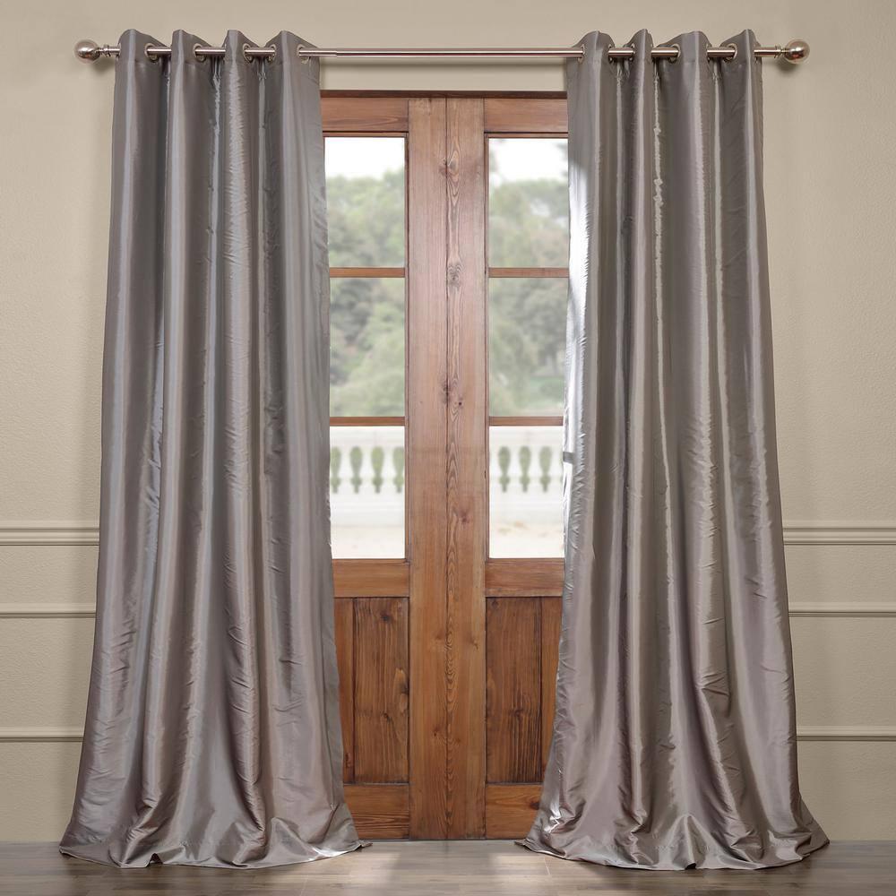 "Luxury Black Grey /& Silver Pintucked Faux Silk Curtain Panel w//Back Tabs 50x84/"""