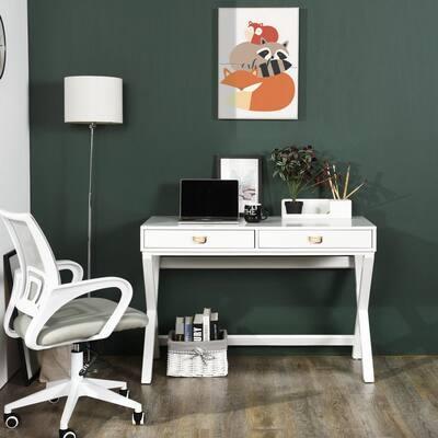 Mavis 44.1 in. Retangular White 2-Drawers Writing Desk