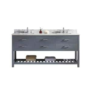 Caroline Estate 72 in. W Bath Vanity in Gray with Marble Vanity Top in White with Square Basin