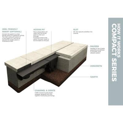 Compact Series Invisible Edge 9.84 ft. L x 5.4 in. W x 3.5 in. H Trench and Channel Drain Kit w/ End Caps and Connector